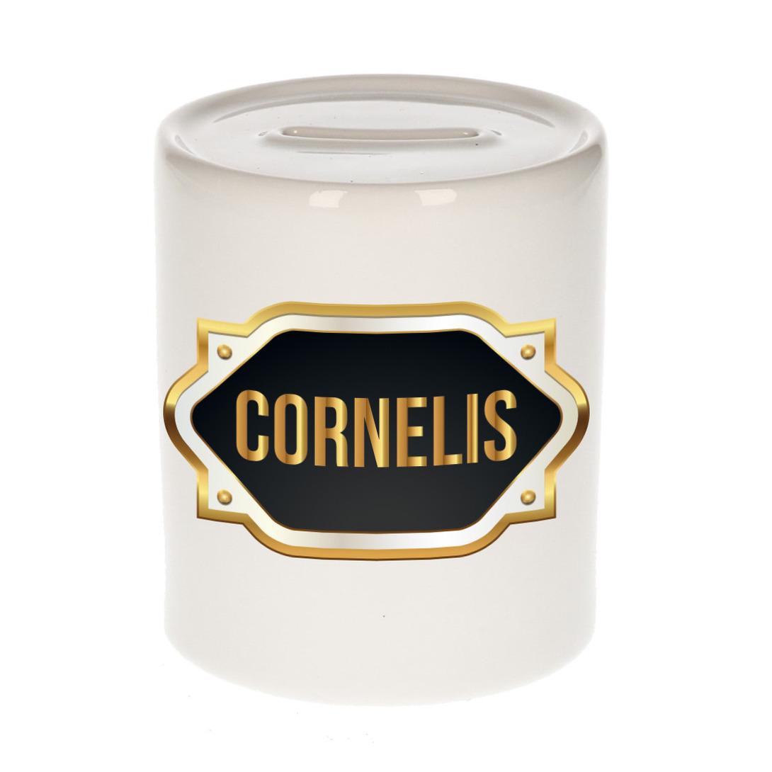 Naam cadeau spaarpot Cornelis met gouden embleem