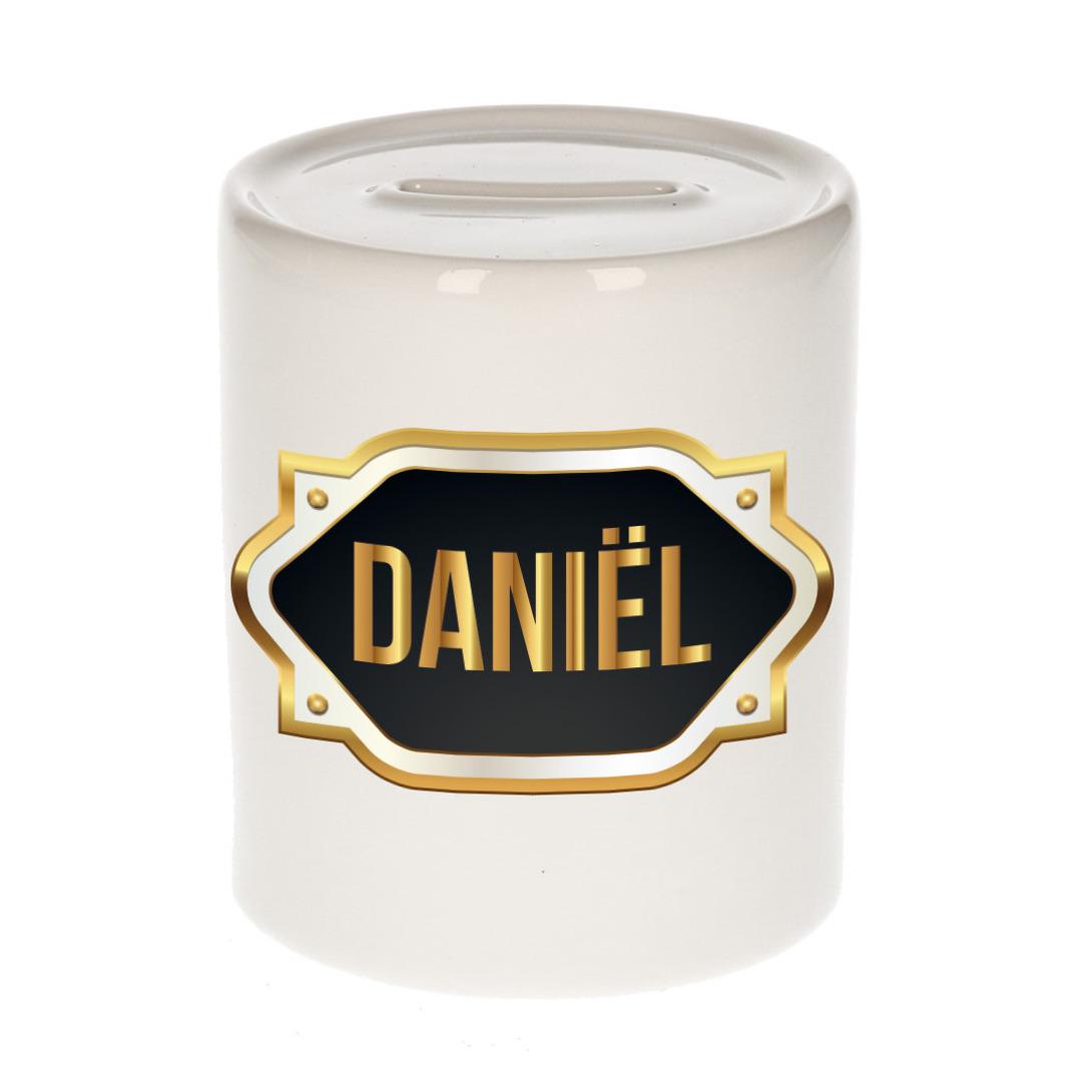 Naam cadeau spaarpot Daniel met gouden embleem