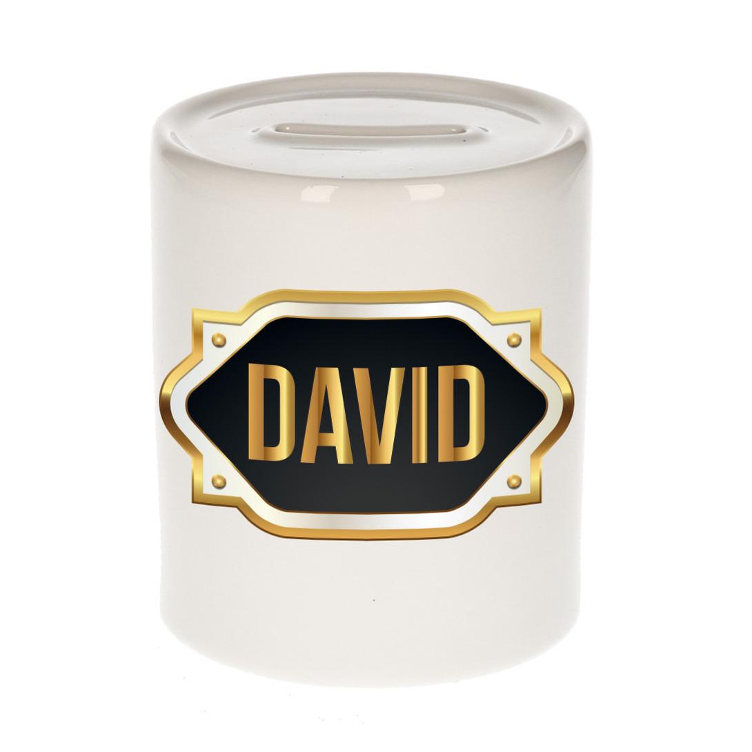 Naam cadeau spaarpot David met gouden embleem