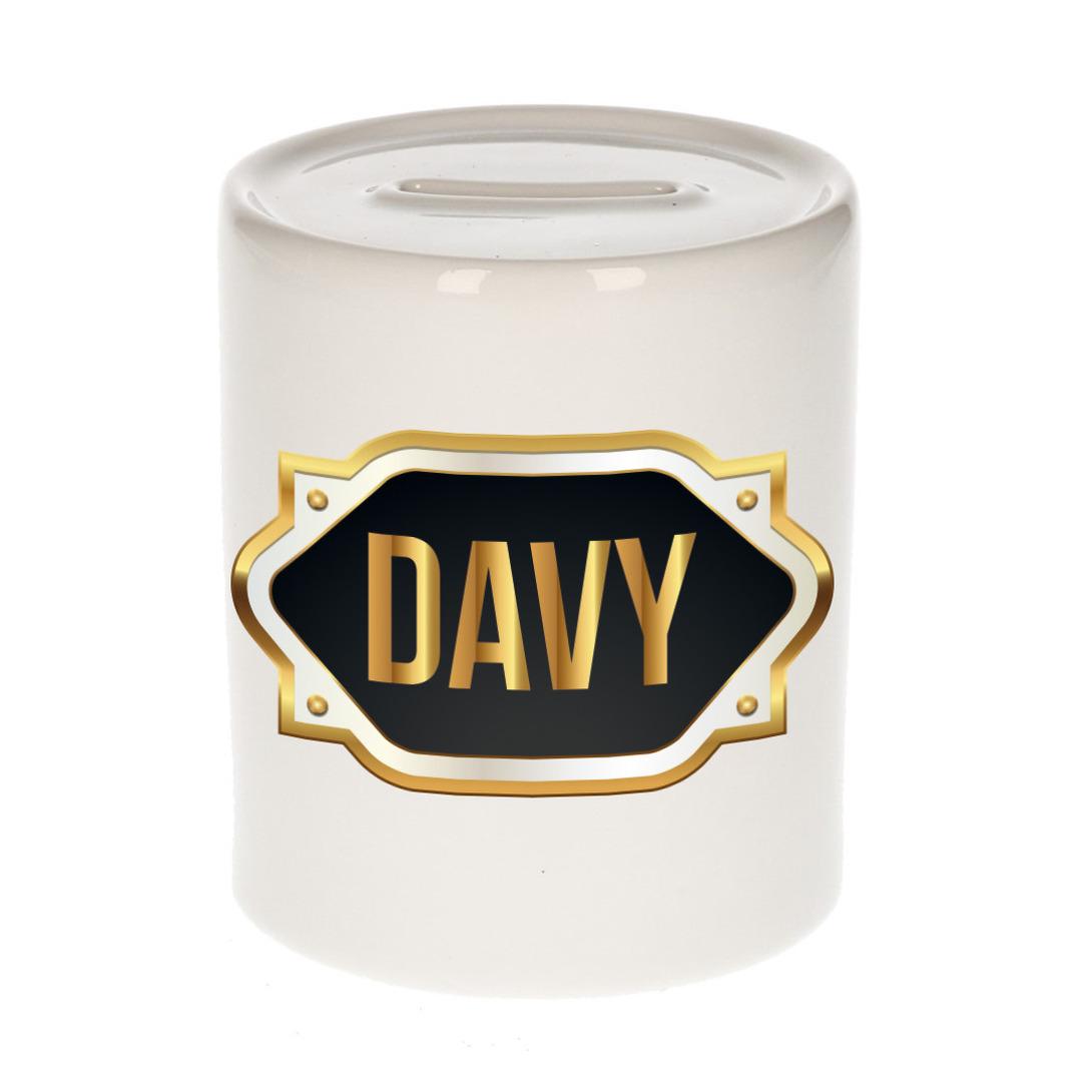 Naam cadeau spaarpot Davy met gouden embleem