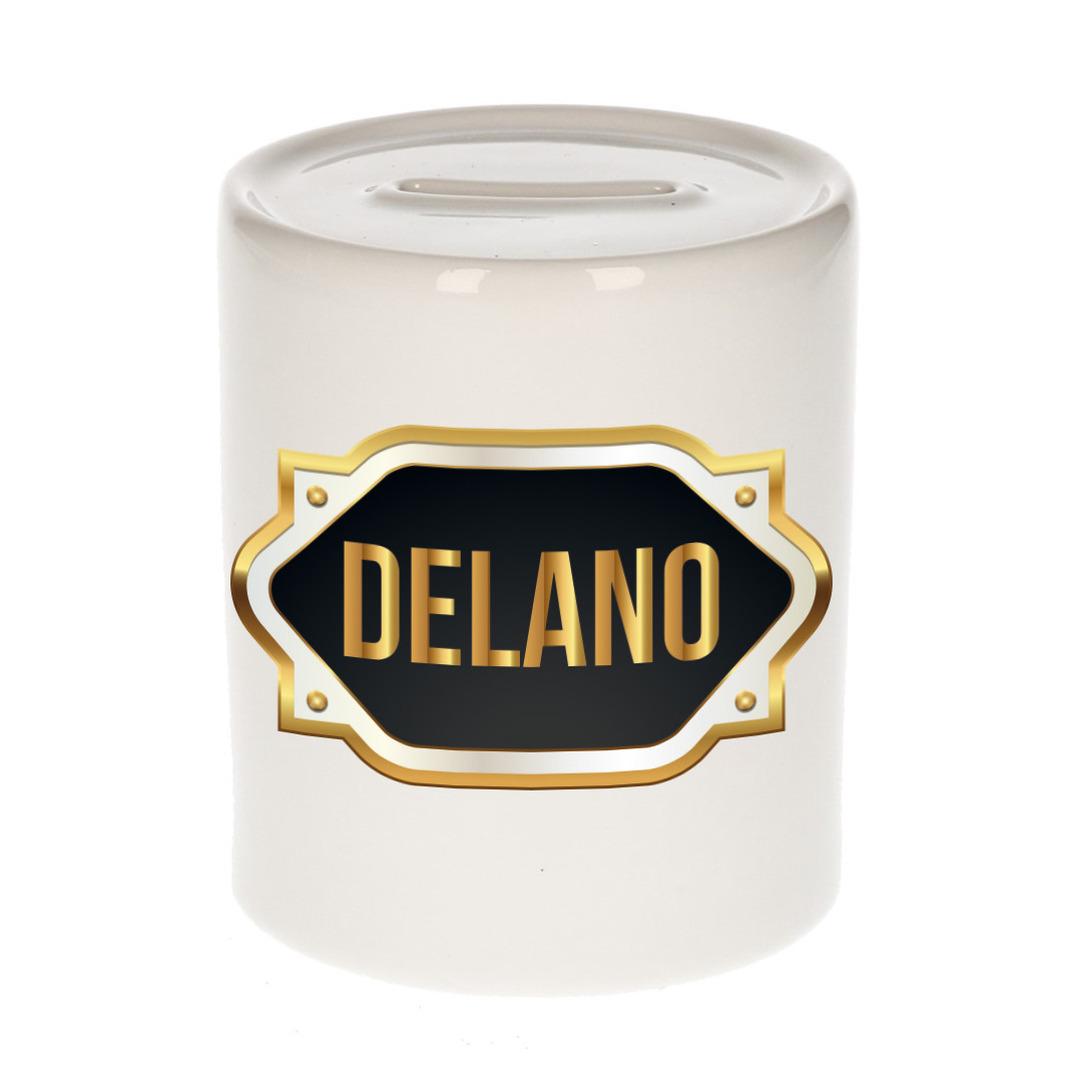 Naam cadeau spaarpot Delano met gouden embleem