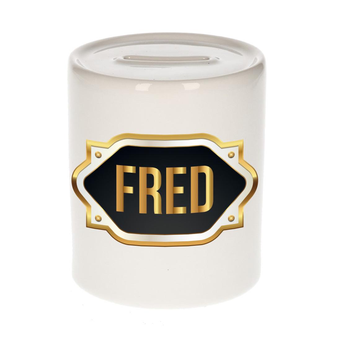 Naam cadeau spaarpot Fred met gouden embleem