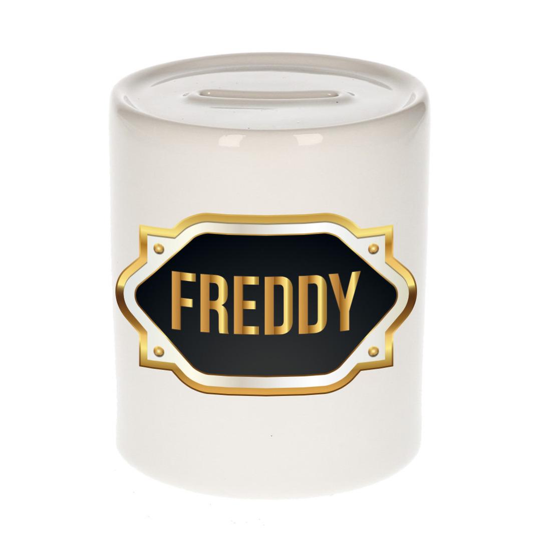 Naam cadeau spaarpot Freddy met gouden embleem