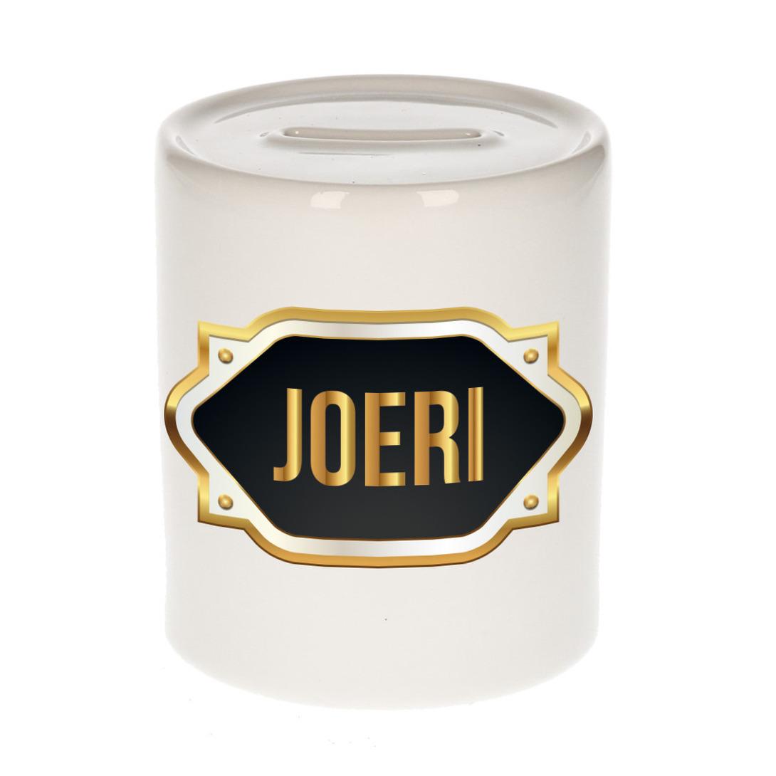 Naam cadeau spaarpot Joeri met gouden embleem