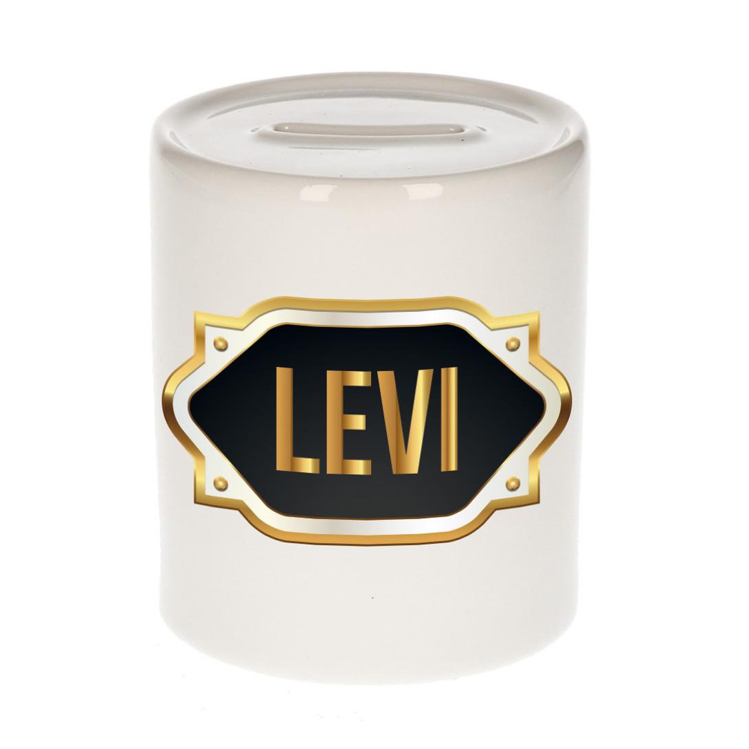 Naam cadeau spaarpot Levi met gouden embleem