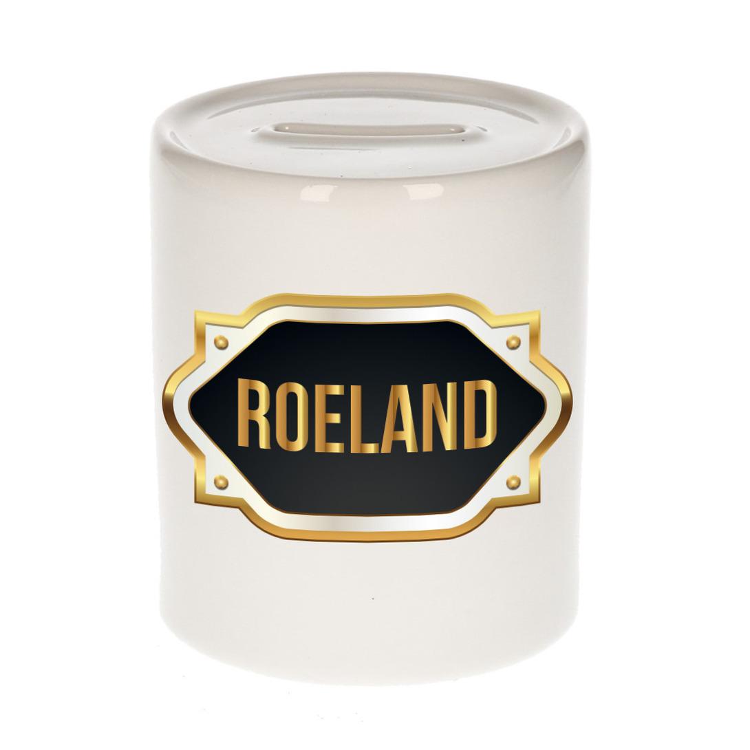 Naam cadeau spaarpot Roeland met gouden embleem