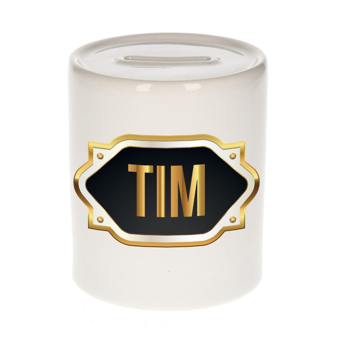 Naam cadeau spaarpot Tim met gouden embleem