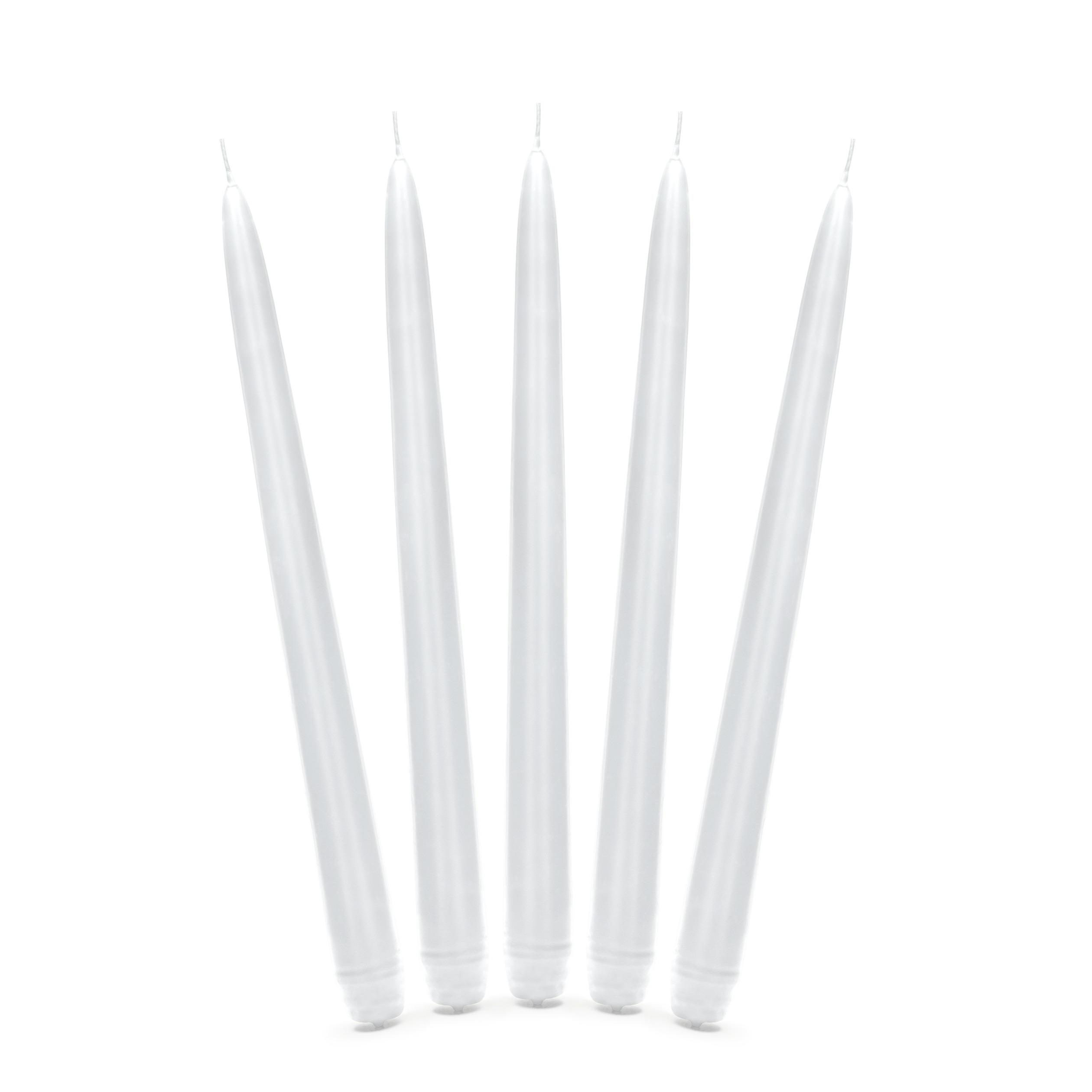 10x stuks Dinerkaarsen mat wit 24 cm