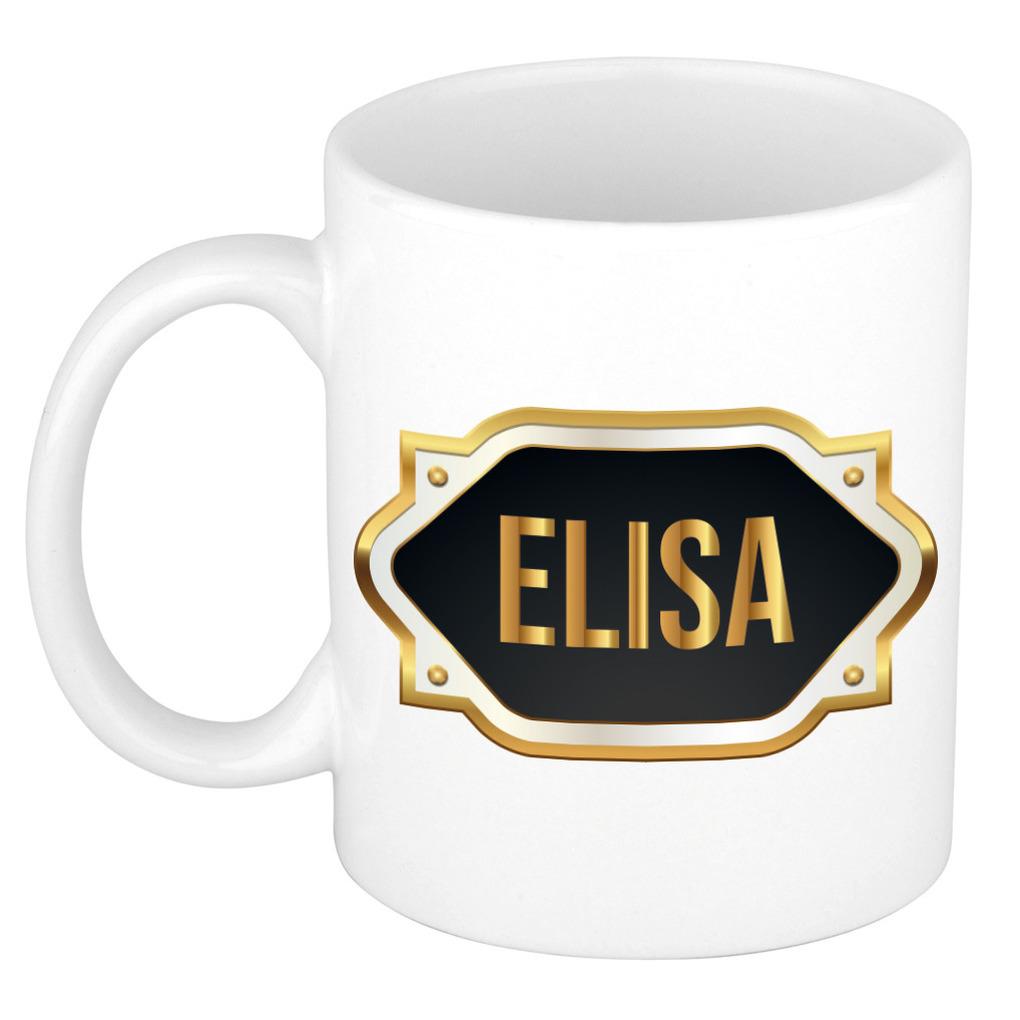 Naam cadeau mok / beker Elisa met gouden embleem 300 ml
