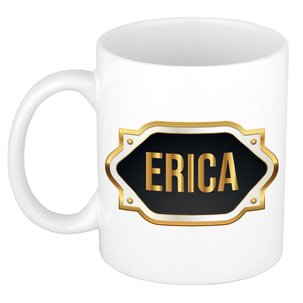Naam cadeau mok / beker Erica met gouden embleem 300 ml