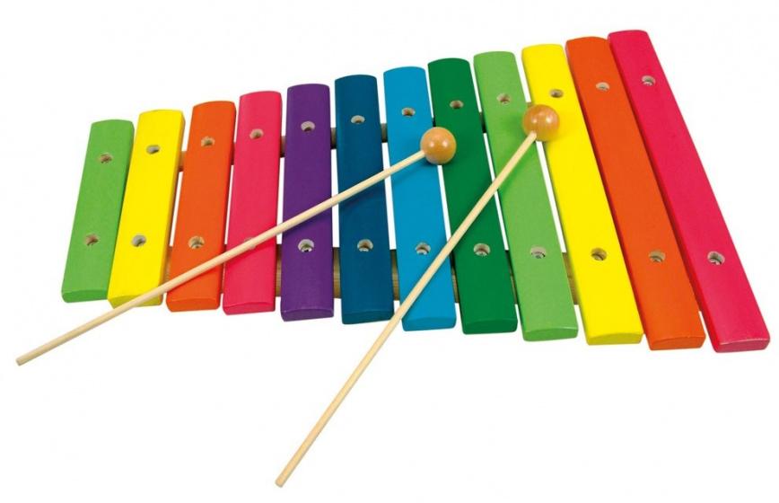 Bino xylofoon 12 toons junior 33 cm metaal/hout 3 delig