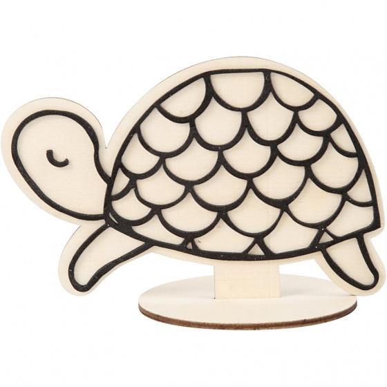 Creotime houten figuur om te decoreren schildpad 10 cm