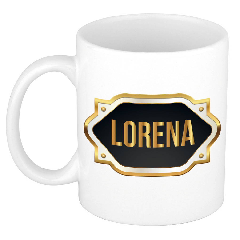 Naam cadeau mok / beker Lorena met gouden embleem 300 ml