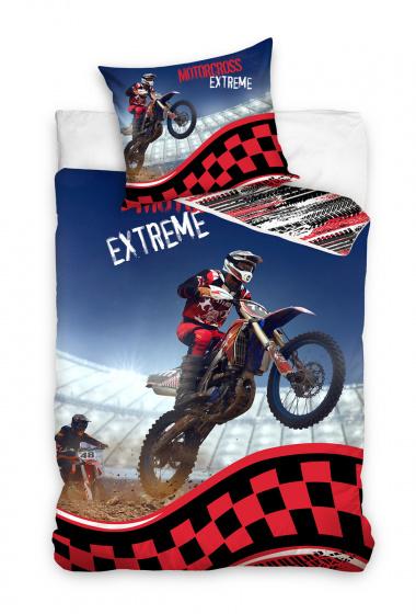Carbotex dekbedovertrek Motorcross 140 x 200 cm katoen rood