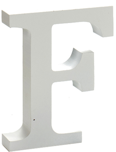 Pincello hobbyletter F junior 2 x 11 cm hout wit