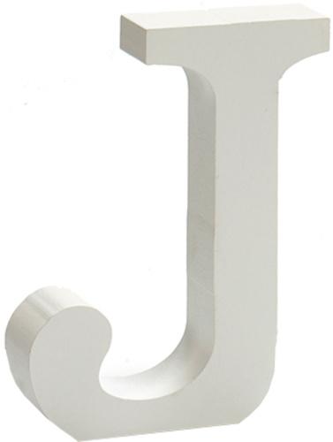 Pincello hobbyletter J junior 2 x 11 cm hout wit